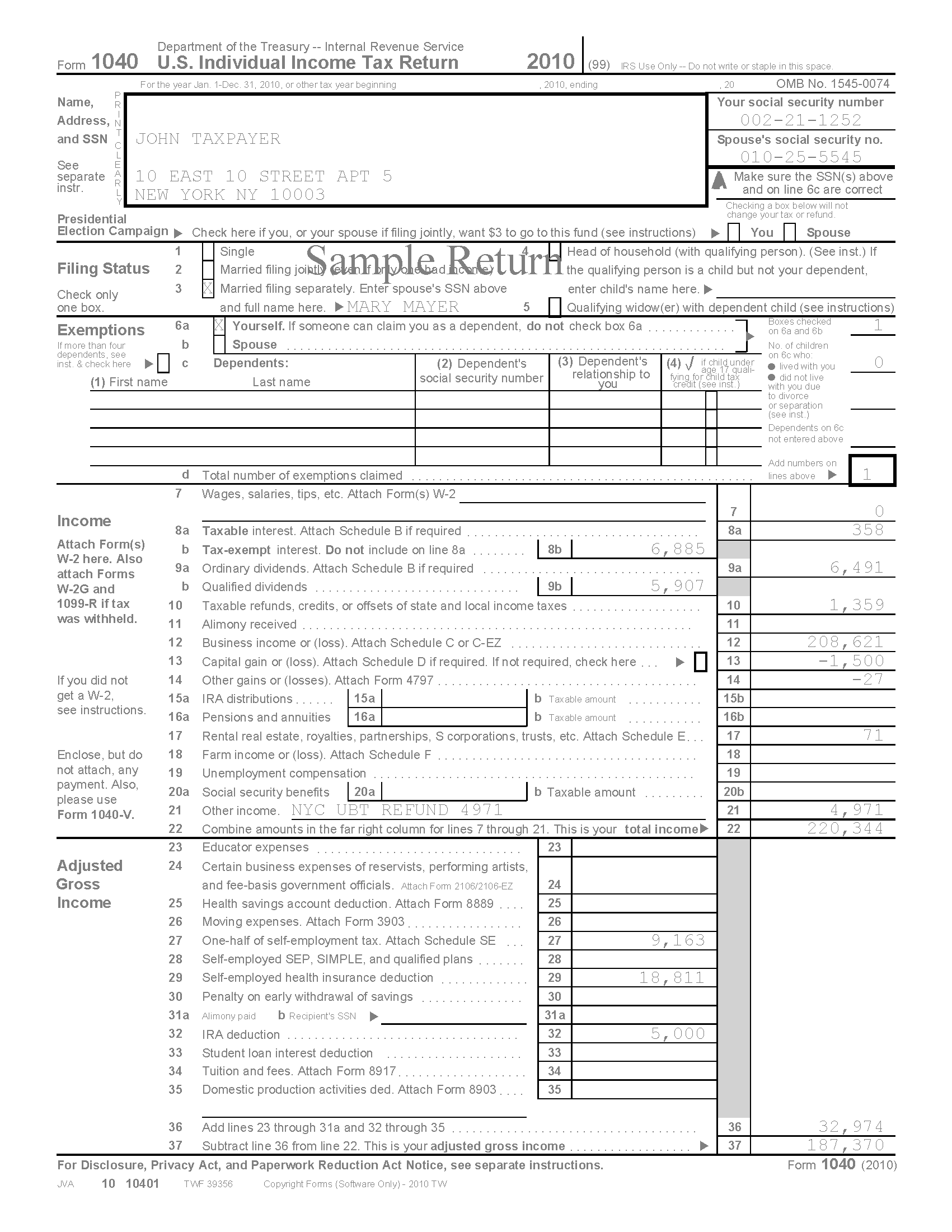 Sample Tax Return Thorcicerosco