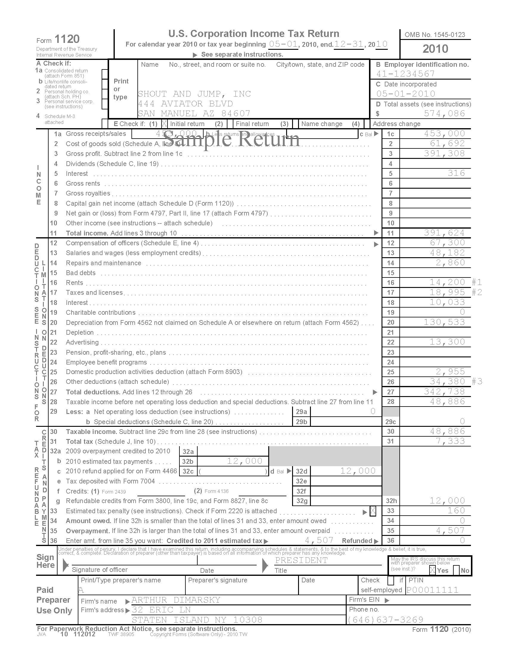 Pages-from-1120-SAMPLE  Form Examples For Corporation on balance sheet column example, corporation tax, m1 example, blue tax, tax return extension, line 26 worksheet, line 3-0 loss, irs tax, voucher printable,