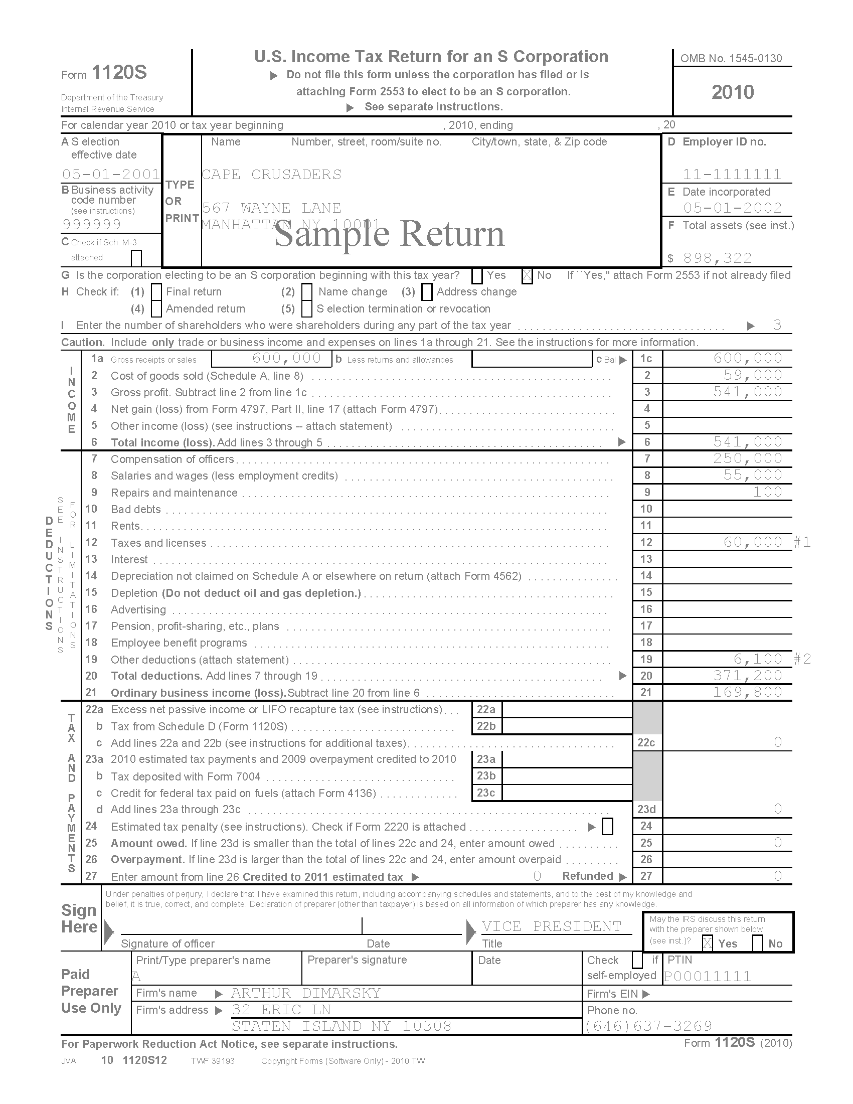 Services for cpa tax preparers returns 1120s sample return falaconquin